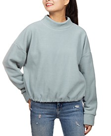 Juniors' Mock-Neck Fleece Bungee-Hem Top