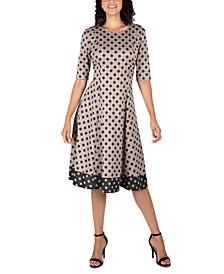 Petite Polka-Dot Sweater Dress