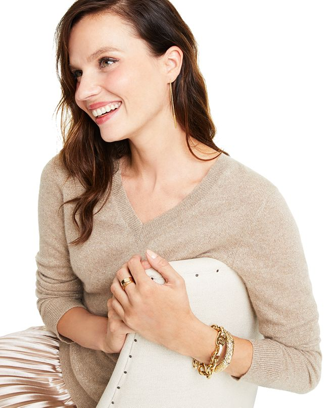 Charter Club Cashmere-Metallic V-Neck Sweater, Regular & Petite Sizes, Created for Macy's