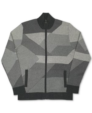 Men's Vintage Sweaters History Alfani Mens Geometric Pattern Full-Zip Cardigan Created for Macys $24.99 AT vintagedancer.com