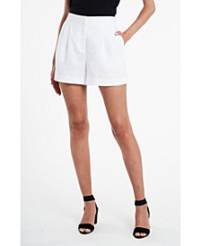 Women's Pleat Front Elastic Back Linen Shorts