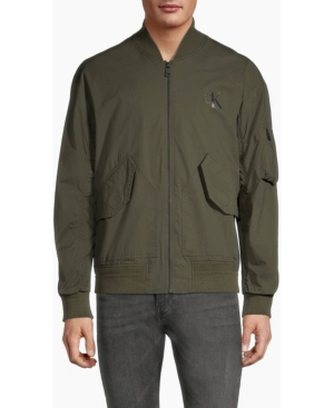 Calvin Klein Men's Mirror Monogram Logo Full Zip Bomber Jacket