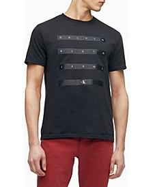 Men's Satin Stripe Logo Crewneck T-shirt