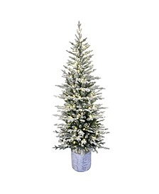 """6"""" Pre-Lit Potted Flocked Arctic Fir Pencil Artificial Christmas Tree"""