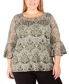 Women's Plus Size Lace Bell-Sleeve Tunic