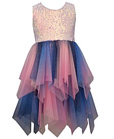 Big Girl Sleeveless Pink/Multi Sequin To Ombre Mesh Hanky Hem Party Dress