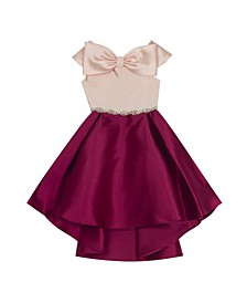 Little Girl Mikado Hi Low Dress With Bow Detail