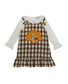 Little Girl Plaid Jumper With Turkey Applique And Knit Top