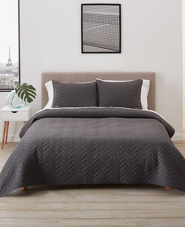 Lacoste Home Herringbone Stitch Quilt Set, Full/Queen