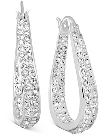 Crystal In & Out Teardrop Drop Earrings in Fine Silver-Plate