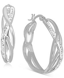 """Crystal Braided Medium Hoop Earrings in Fine Silver-Plate, 1.24"""""""