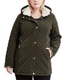 Plus Size Faux-Sherpa-Lined Quilted Coat