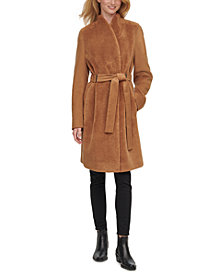 Calvin Klein Faux-Fur-Front Belted Teddy Wrap Coat