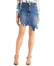 GUESS Cassy Ripped Cotton Denim Skirt