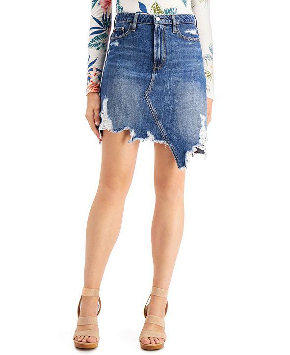 GUESS Cassy Ripped Cotton Denim Skirt