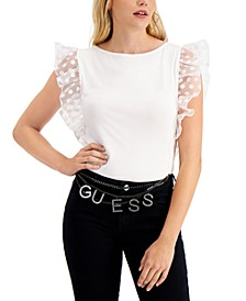 Enza Sheer-Contrast Flutter-Sleeve Top