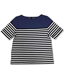 Plus Size Boat-Neck Striped Top, Created for Macy's