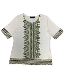 Printed Elbow-Sleeve T-Shirt, Created for Macy's