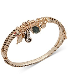 Gold-Tone Pavé & Stone Sea Life Charm Bangle Bracelet