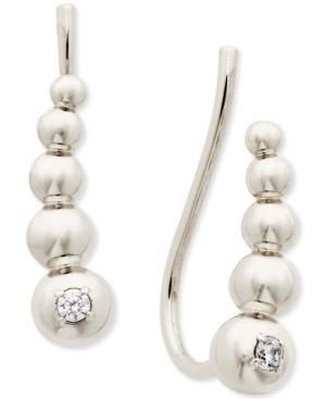 Cubic Zirconia Graduated Bead Climber Earrings