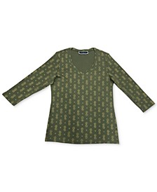 Plus Size Printed V-Neck Top, Created for Macy's