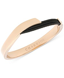 Two-Tone Overlap Bangle Bracelet in 18k Rose Gold PVD Stainless Steel & Black PVD Cable