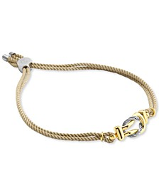 Yellow Double Cord Looped Bolo Bracelet in 18k Gold-Plated Silver & Stainless Steel (Also in Black Cord)