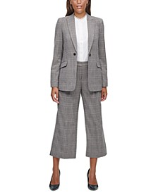 Plaid Jacket, Blouse & Pants
