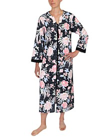 Floral-Print Long Zip Front Robe