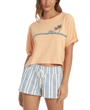 1980s Clothing, Fashion | 80s Style Clothes Roxy Juniors Retro Ocean Cotton Cropped T-Shirt $28.00 AT vintagedancer.com