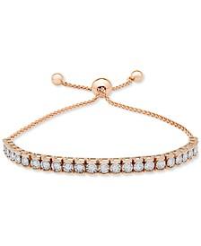 Diamond Row Bolo Bracelet (3/4 ct. t.w.) in Sterling Silver, 14k Gold-plated Sterling Silver, & 14k Rose Gold-plated Sterling Silver