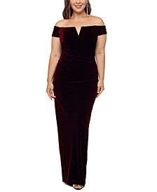 Plus Size Velvet Off-the-Shoulder Gown