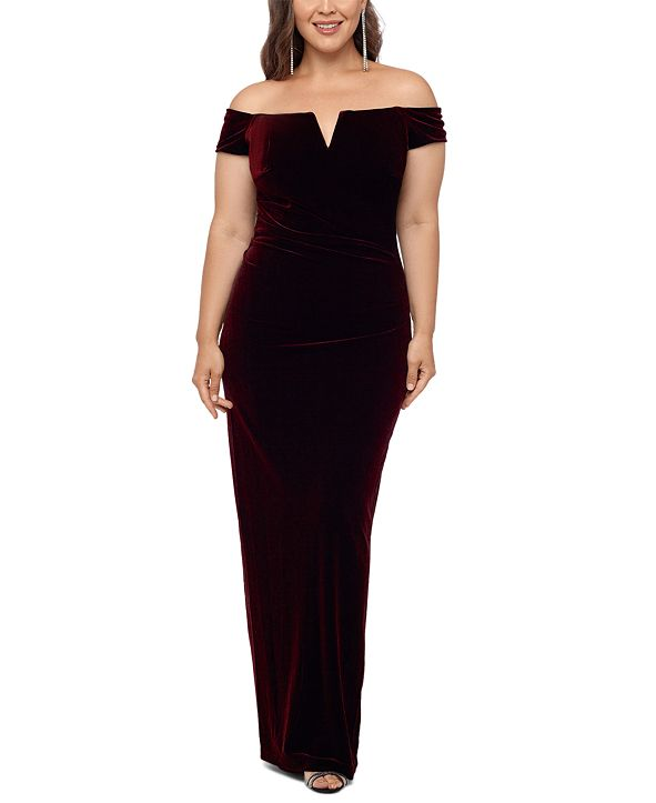 XSCAPE Plus Size Velvet Off-the-Shoulder Gown