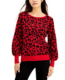 Animal Print Balloon-Sleeve Sweater