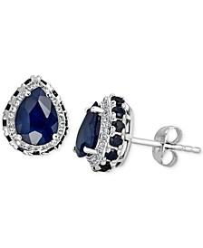 Blue Sapphire (3-1/2 ct. t.w.) & White Sapphire (1/5 ct. t.w.) Stud Earrings in 10k White Gold