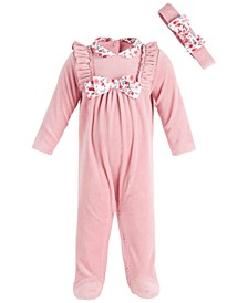 Baby Girls Flower Collar Coverall, Created for Macy's