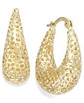 14k Gold Earrings, Diamond-Cut Mesh Puff Earrings