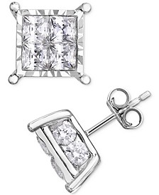 Diamond Princess Cluster Stud Earrings (3 ct. t.w.) in 14K White Gold