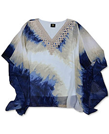 JM Collection Crochet-Trim Printed Poncho Top, Created for Macy's