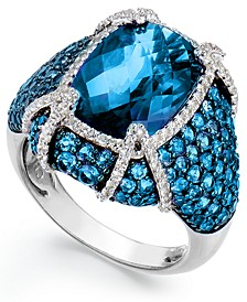 Blue Topaz (11-1/10 ct. t.w.) & White Topaz (1/2 ct. t.w.) Ring in Sterling Silver