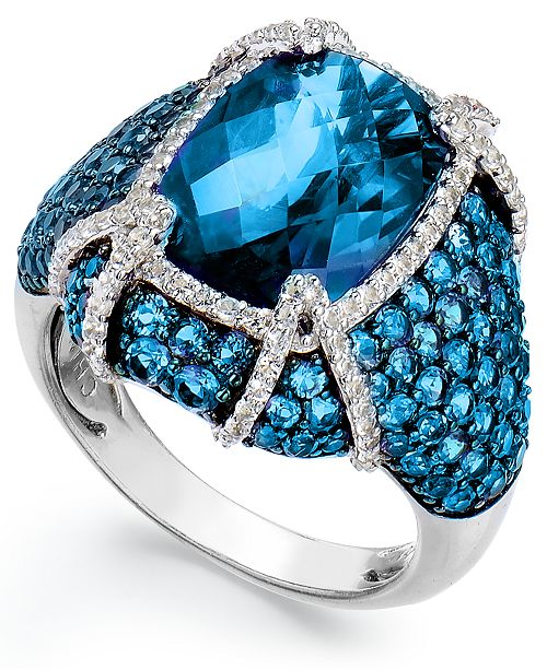 Macy's Sterling Silver Blue Topaz (11-1/10 ct. t.w.) and White Topaz (1/2 ct. t.w.) Ring