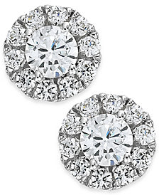 Diamond Halo Stud Earrings in 14k White Gold (1/2-3/4 ct. t.w.)