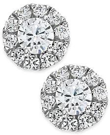 Diamond Halo Stud Earrings 14k White Gold (3/4 ct. t.w.)