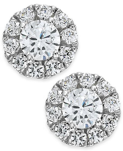 Macy's Diamond Halo Stud Earrings in 14k White Gold (1/2-3/4 ct. t.w.)