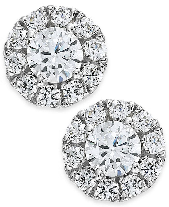 Macy's - Diamond Halo Stud Earrings in 14k White Gold (1/2-3/4 ct. t.w.)