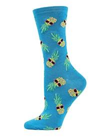 Pineapple Sunglasses Women's Novelty Socks