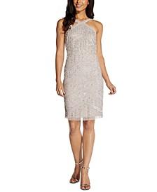 Embellished Fringed Halter Dress