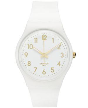 SWATCH Watch, Unisex Swiss White Bishop White Silicone Strap 41Mm Gw164