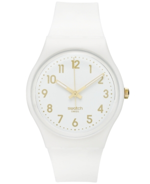 Swatch Watch, Unisex Swiss White Bishop White Silicone Strap 41mm GW164