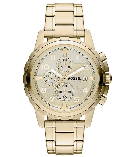 41590f317aa ... Fossil Men s Chronograph Dean Gold-Tone Stainless Steel Bracelet Watch  45mm FS4867 ...